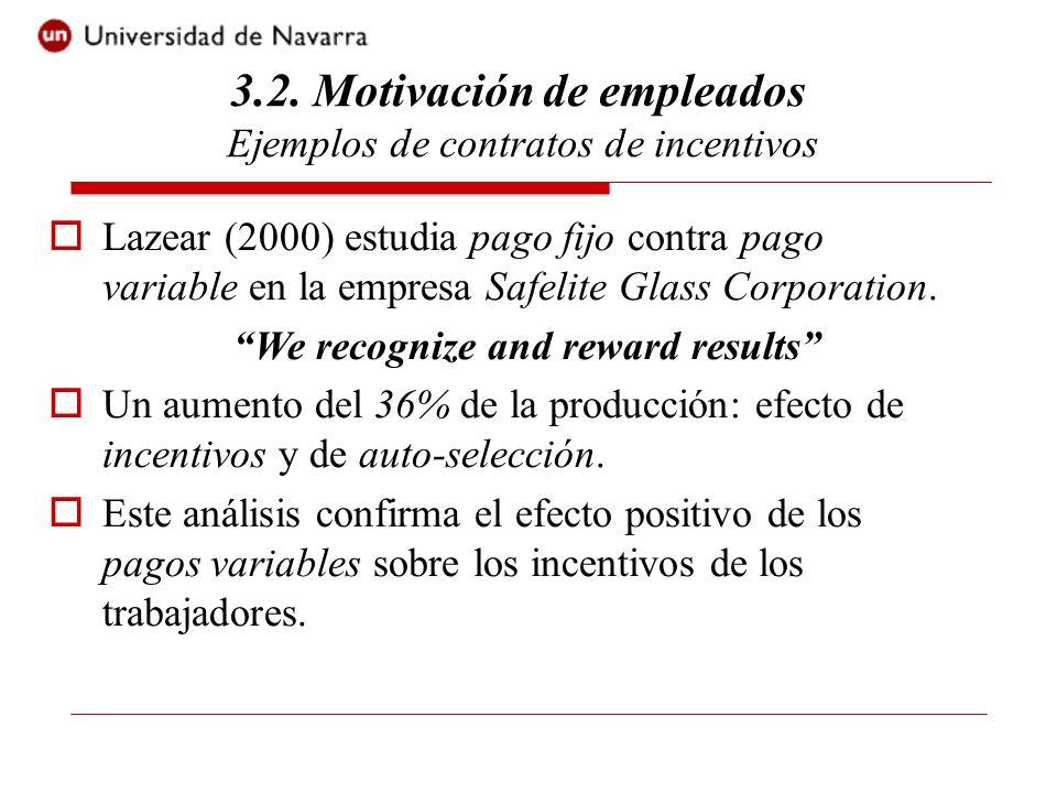 3.2. Motivación de empleados Ejemplos de contratos de incentivos Lazear (2000) estudia pago fijo contra pago variable en la empresa Safelite Glass Cor