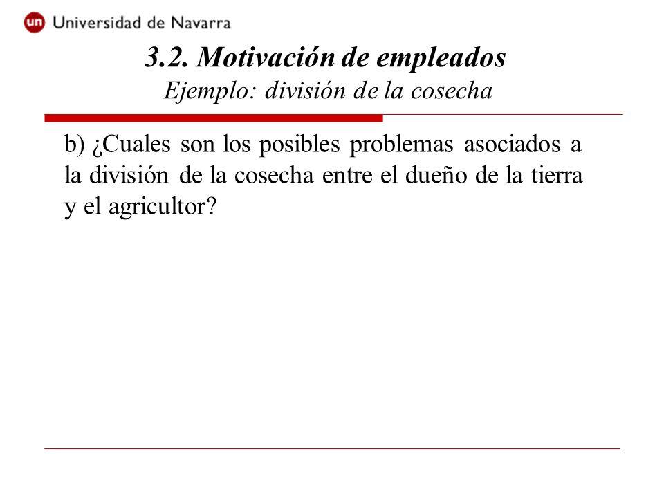 b) ¿Cuales son los posibles problemas asociados a la división de la cosecha entre el dueño de la tierra y el agricultor.