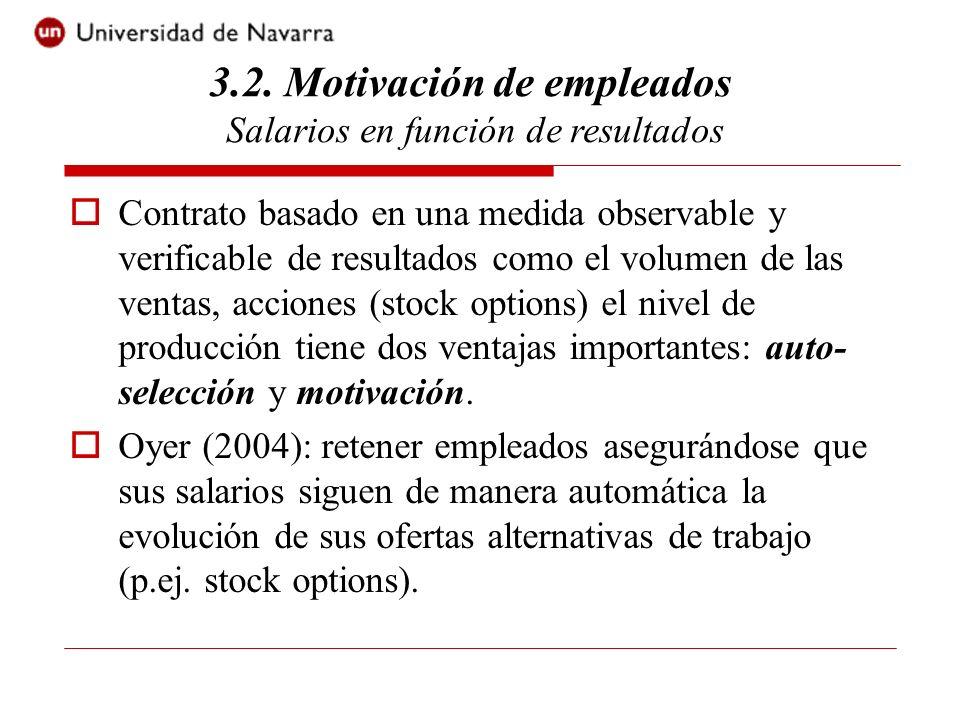 Contrato basado en una medida observable y verificable de resultados como el volumen de las ventas, acciones (stock options) el nivel de producción tiene dos ventajas importantes: auto- selección y motivación.