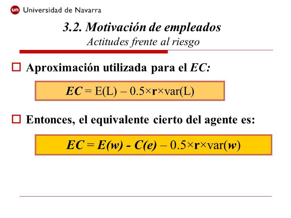 El nivel óptimo de esfuerzo viene dado por: P(e) = C(e) + rC(e)×var[x]×C(e) Entonces: C(e) = P(e) / (1 + r var[x] ×C(e) ) Si C(e) es convexa, el nivel de esfuerzo será inferior al nivel eficiente, a no ser que r = 0 ó que var(x) = 0.