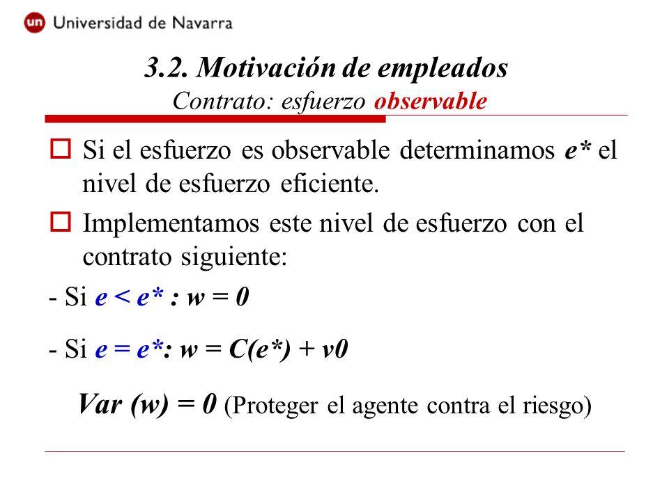 3.2. Motivación de empleados Contrato: esfuerzo observable Si el esfuerzo es observable determinamos e* el nivel de esfuerzo eficiente. Implementamos