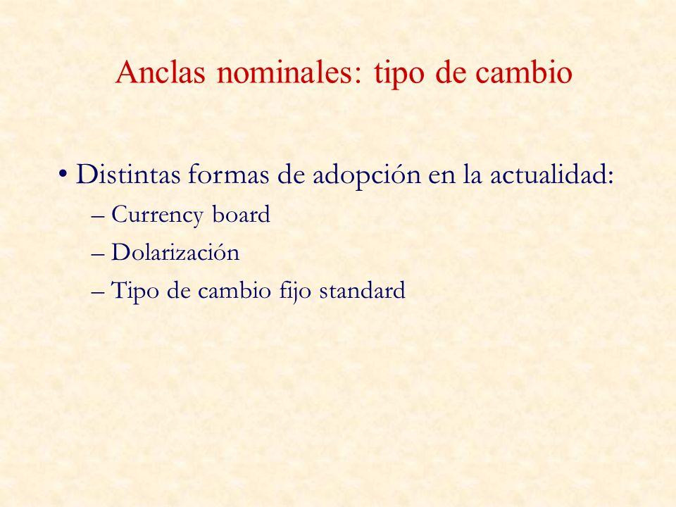 Anclas nominales: tipo de cambio Distintas formas de adopción en la actualidad: – Currency board – Dolarización – Tipo de cambio fijo standard