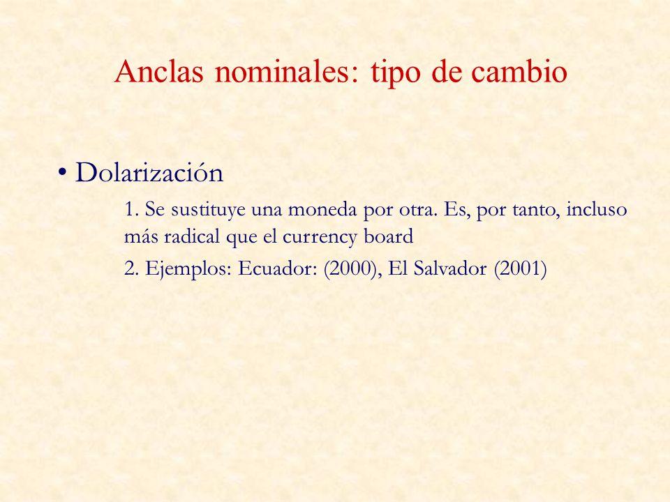 Anclas nominales: tipo de cambio Dolarización 1. Se sustituye una moneda por otra. Es, por tanto, incluso más radical que el currency board 2. Ejemplo