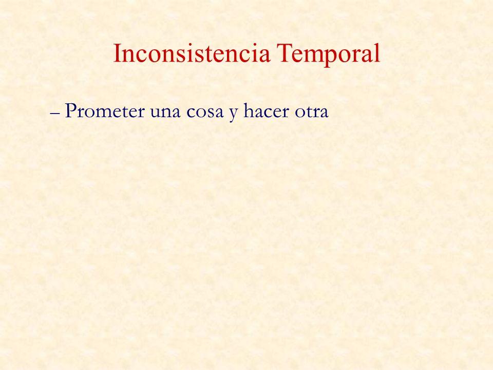 – Prometer una cosa y hacer otra Inconsistencia Temporal