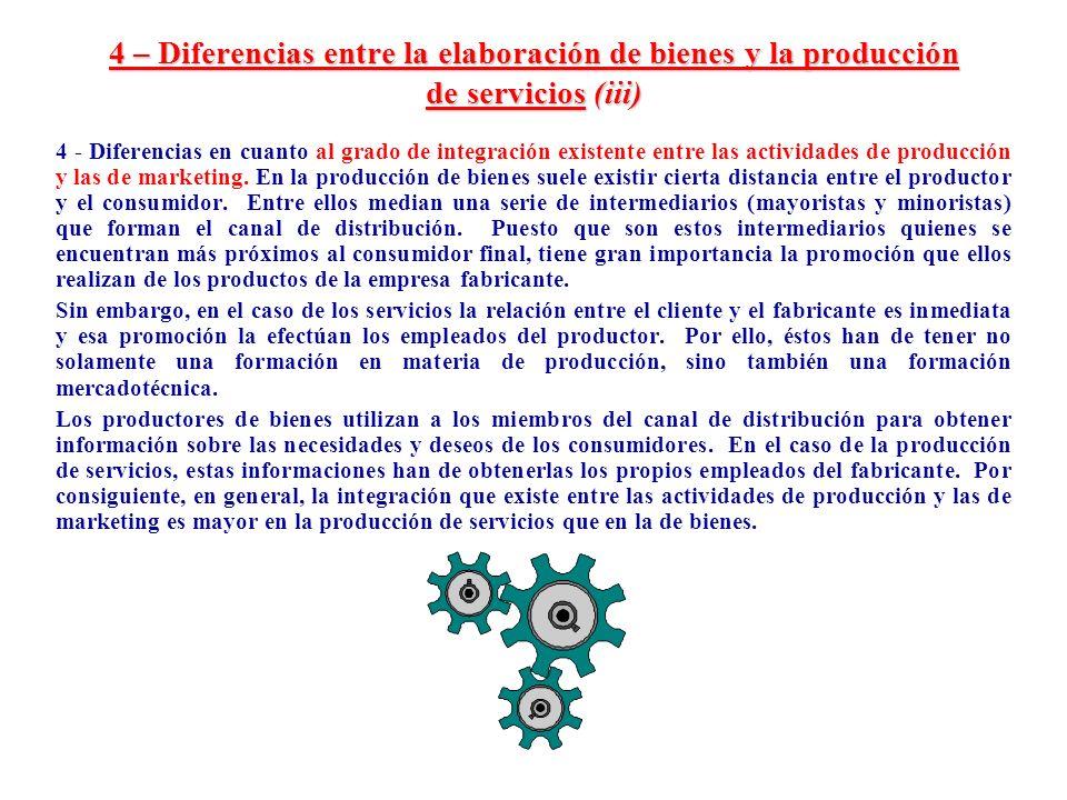 4 – Diferencias entre la elaboración de bienes y la producción de servicios (iii) 4 - Diferencias en cuanto al grado de integración existente entre la