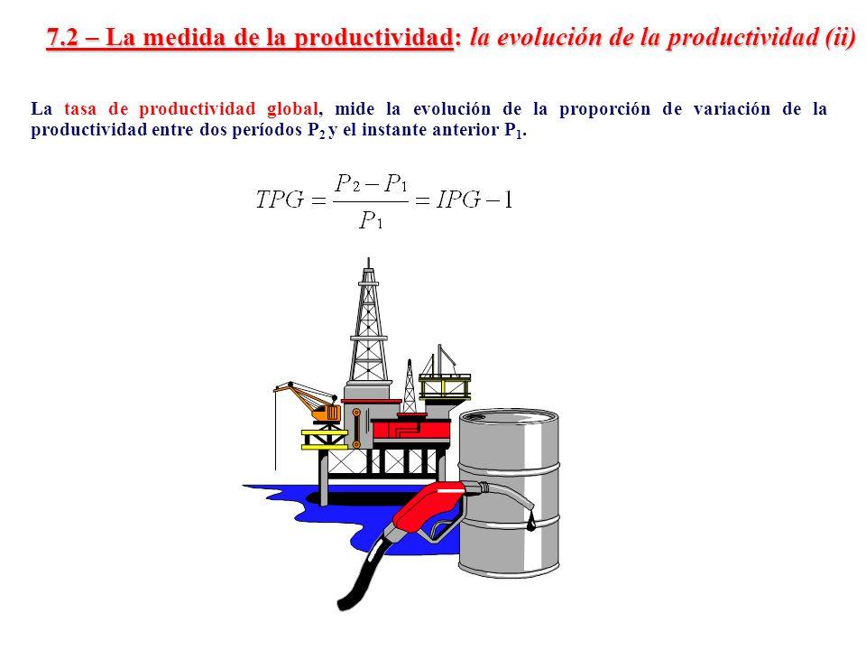 7.2 – La medida de la productividad: la evolución de la productividad (ii) La tasa de productividad global, mide la evolución de la proporción de vari