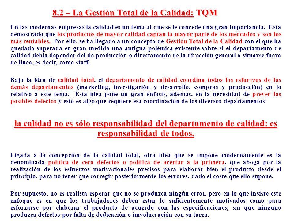 8.2 – La Gestión Total de la Calidad: TQM En las modernas empresas la calidad es un tema al que se le concede una gran importancia. Está demostrado qu