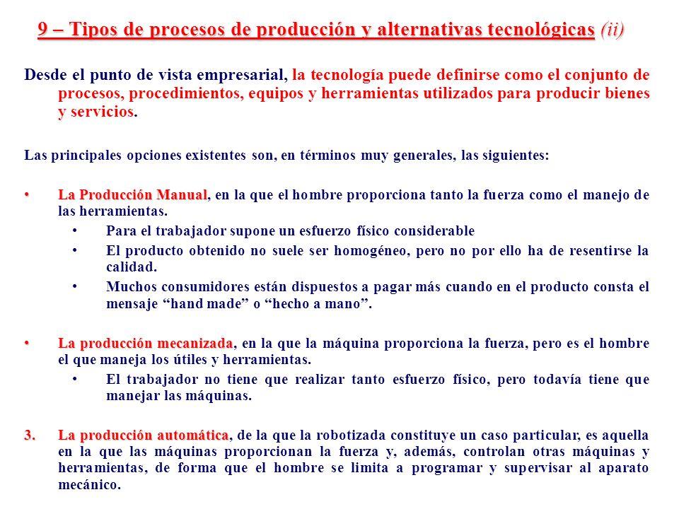 9 – Tipos de procesos de producción y alternativas tecnológicas (ii) Desde el punto de vista empresarial, la tecnología puede definirse como el conjun