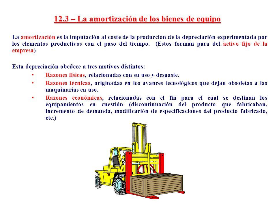 12.3 – La amortización de los bienes de equipo La amortización es la imputación al coste de la producción de la depreciación experimentada por los ele
