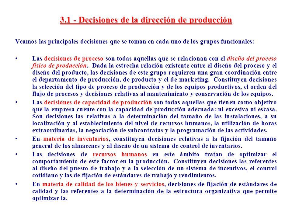 3.1 - Decisiones de la dirección de producción Veamos las principales decisiones que se toman en cada uno de los grupos funcionales: Las decisiones de