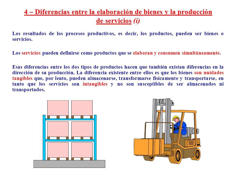 4 – Diferencias entre la elaboración de bienes y la producción de servicios (i) Los resultados de los procesos productivos, es decir, los productos, p