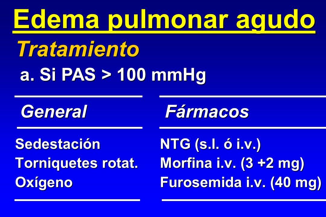 Edema pulmonar agudo SedestaciónNTG (s.l. ó i.v.) Torniquetes rotat.Morfina i.v. (3 +2 mg) OxígenoFurosemida i.v. (40 mg) Tratamiento GeneralFármacos