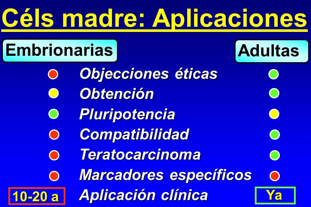 Céls madre: Aplicaciones Objecciones éticas ObtenciónPluripotenciaCompatibilidadTeratocarcinoma Marcadores específicos Aplicación clínica Embrionarias