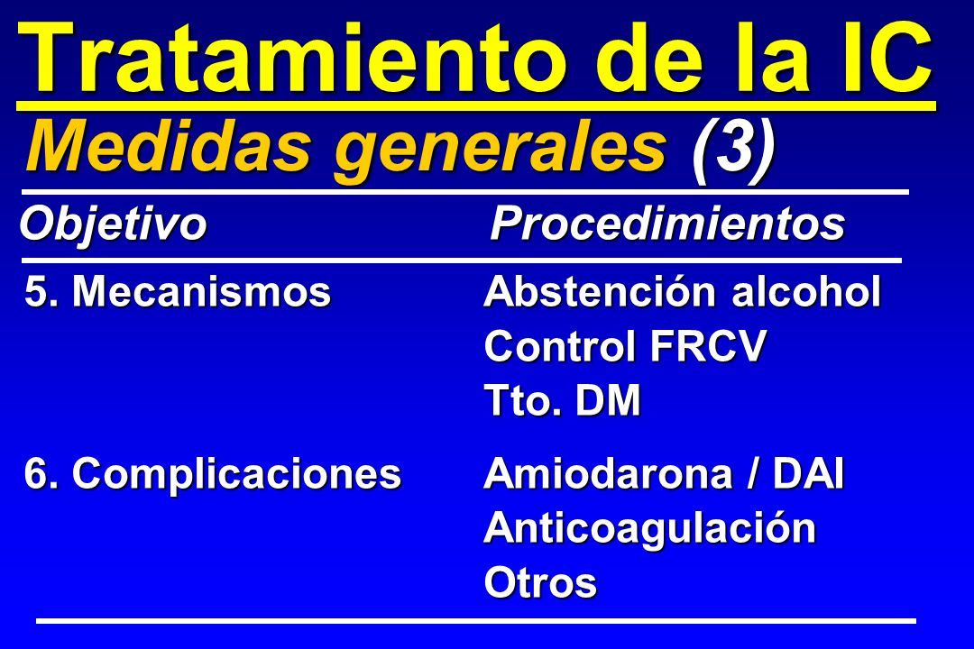Tratamiento de la IC 5. MecanismosAbstención alcohol Control FRCV Tto. DM 6. ComplicacionesAmiodarona / DAI AnticoagulaciónOtros Medidas generales (3)