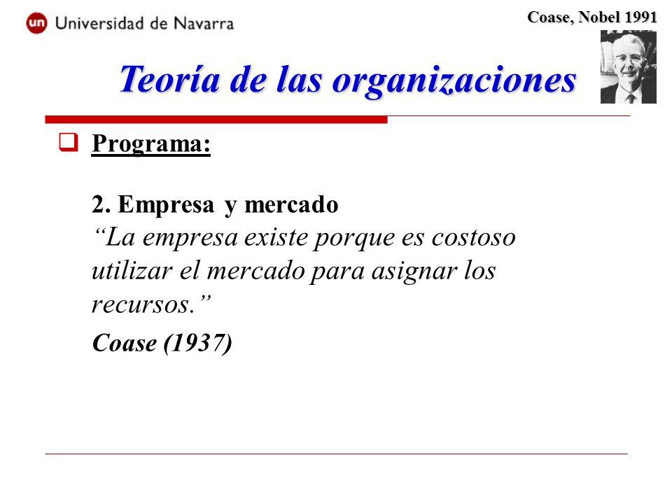 Programa: 2. Empresa y mercado La empresa existe porque es costoso utilizar el mercado para asignar los recursos. Coase (1937) Teoría de las organizac