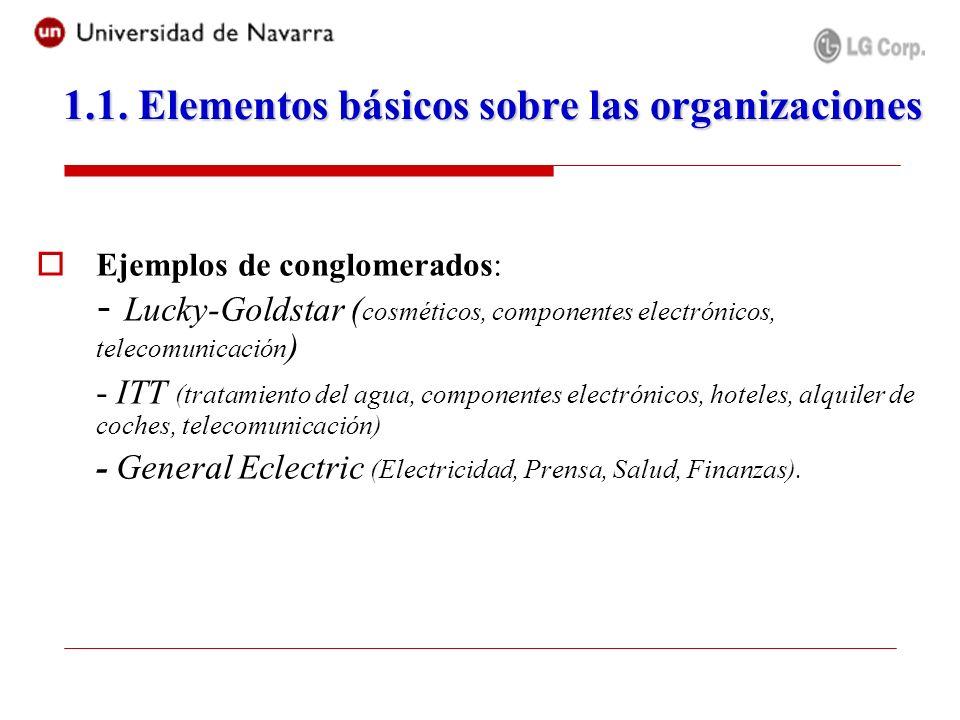 Ejemplos de conglomerados: - Lucky-Goldstar ( cosméticos, componentes electrónicos, telecomunicación ) - ITT (tratamiento del agua, componentes electr
