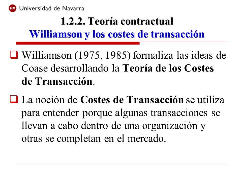 Williamson (1975, 1985) formaliza las ideas de Coase desarrollando la Teoría de los Costes de Transacción. La noción de Costes de Transacción se utili