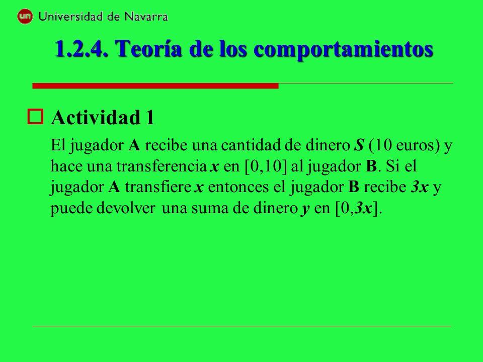 Actividad 1 El jugador A recibe una cantidad de dinero S (10 euros) y hace una transferencia x en [0,10] al jugador B. Si el jugador A transfiere x en