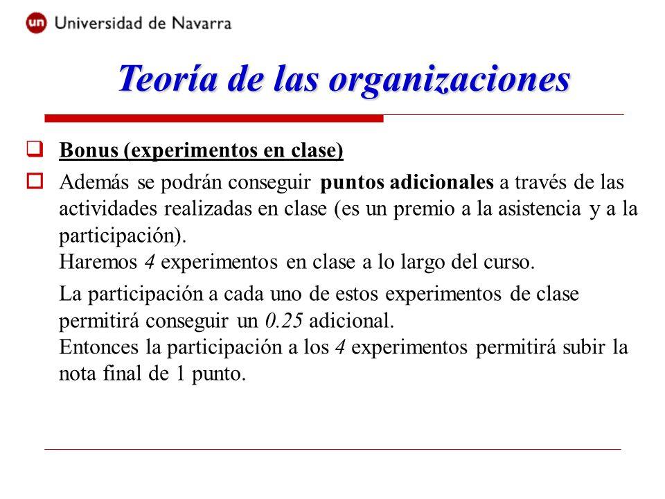 Bonus (experimentos en clase) Además se podrán conseguir puntos adicionales a través de las actividades realizadas en clase (es un premio a la asisten