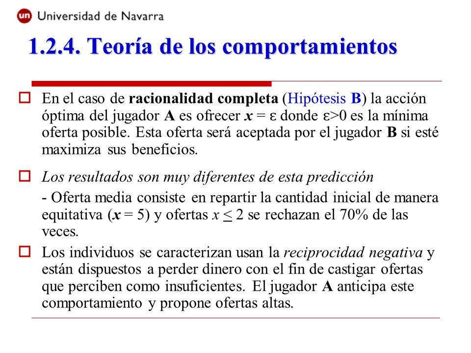 En el caso de racionalidad completa (Hipótesis B) la acción óptima del jugador A es ofrecer x = ɛ donde ɛ >0 es la mínima oferta posible. Esta oferta