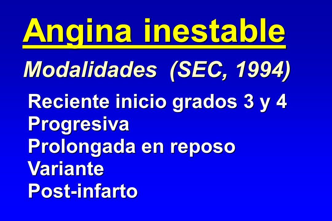 Angina inestable Modalidades (SEC, 1994) Reciente inicio grados 3 y 4 Progresiva Prolongada en reposo VariantePost-infarto
