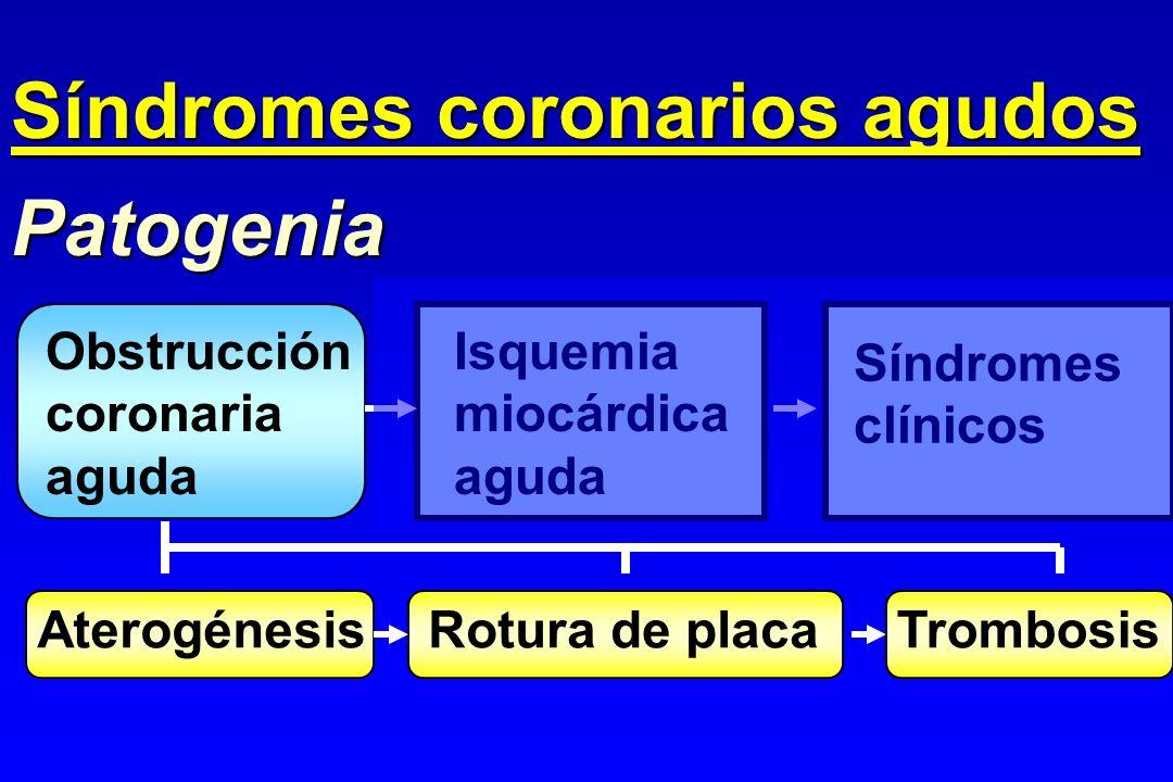 Obstrucción coronaria aguda Patogenia Isquemia miocárdica aguda Síndromes clínicos AterogénesisRotura de placaTrombosis Síndromes coronarios agudos