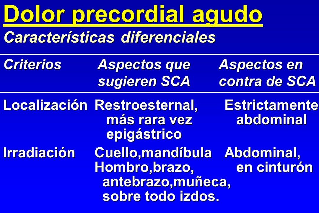 Dolor precordial agudo Características diferenciales LocalizaciónRestroesternal,Estrictamente más rara vez abdominal más rara vez abdominal epigástric