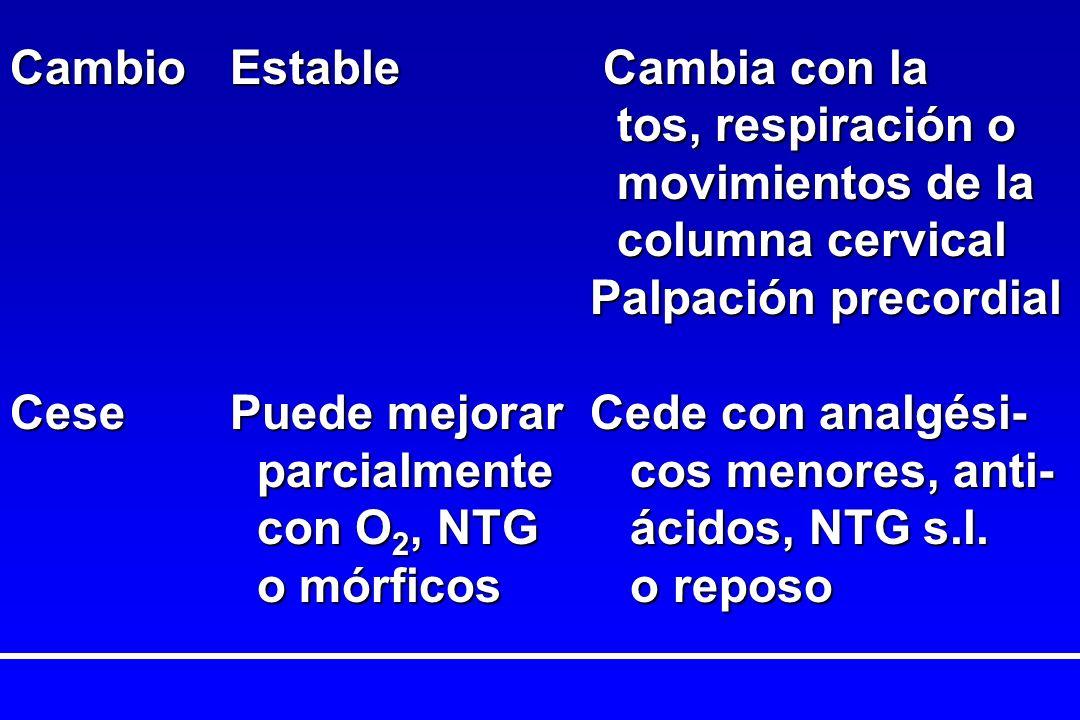 CambioEstable Cambia con la tos, respiración o tos, respiración o movimientos de la movimientos de la columna cervical columna cervical Palpación prec
