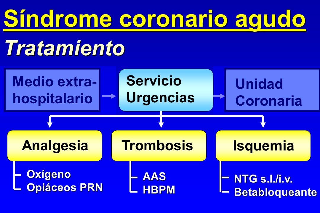 Medio extra- hospitalario Tratamiento Síndrome coronario agudo Servicio Urgencias Unidad Coronaria Trombosis Isquemia Analgesia Oxígeno Opiáceos PRN A