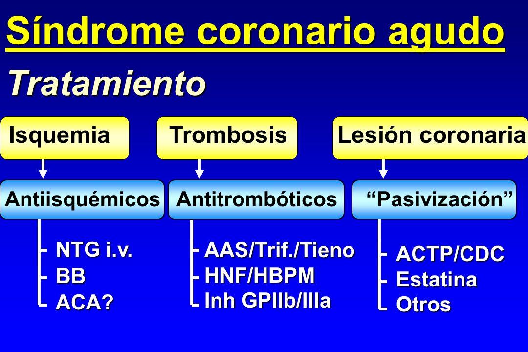 Tratamiento NTG i.v. BBACA?AAS/Trif./TienoHNF/HBPM Inh GPIIb/IIIa Trombosis ACTP/CDCEstatinaOtros Lesión coronaria Antiisquémicos Antitrombóticos Pasi