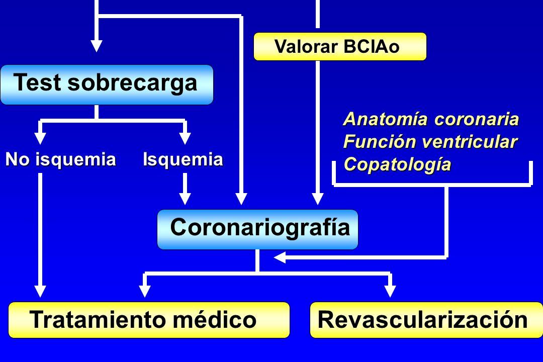 Coronariografía Tratamiento médico Revascularización No isquemia Isquemia Anatomía coronaria Función ventricular Copatología Valorar BCIAo Test sobrec