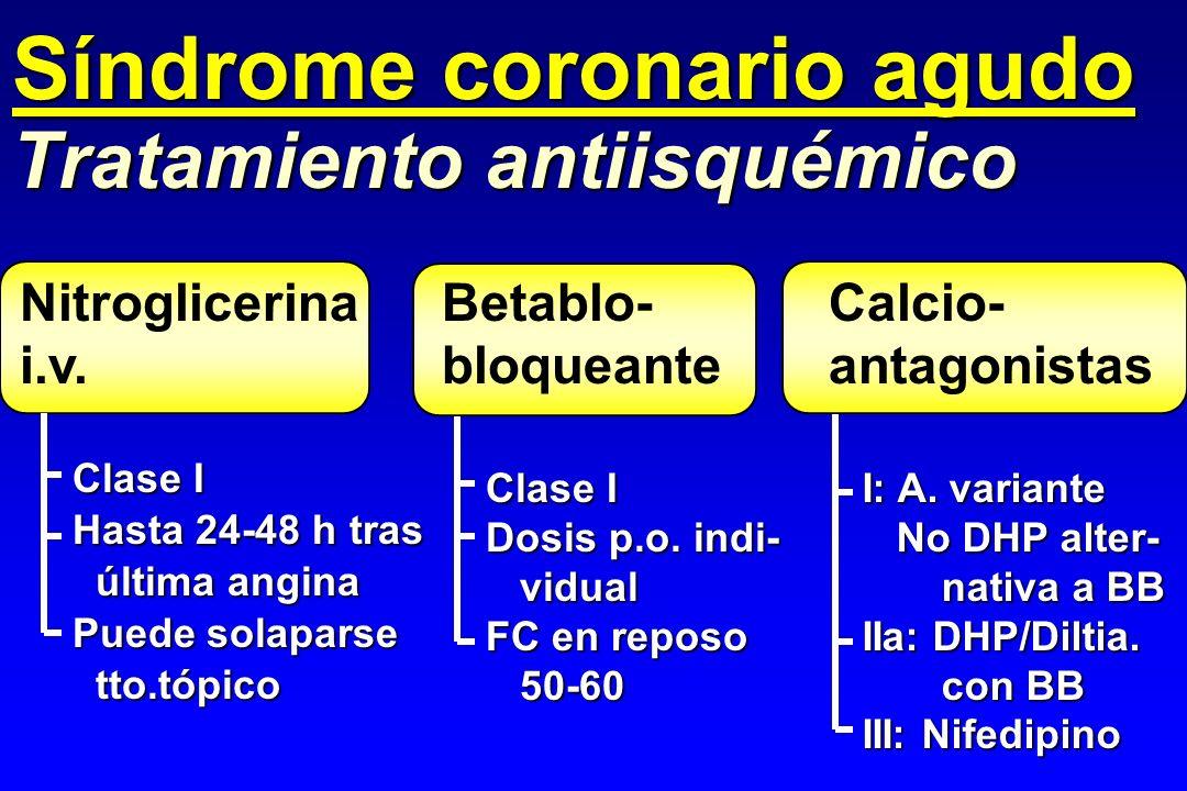 Nitroglicerina i.v. Tratamiento antiisquémico Clase I Hasta 24-48 h tras última angina última angina Puede solaparse tto.tópico tto.tópico Clase I Dos