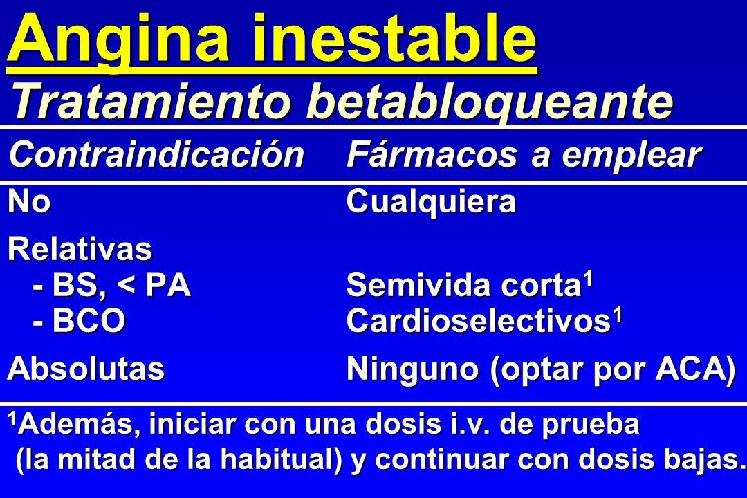 Angina inestable NoCualquiera Relativas - BS, < PASemivida corta 1 - BCOCardioselectivos 1 AbsolutasNinguno (optar por ACA) 1 Además, iniciar con una