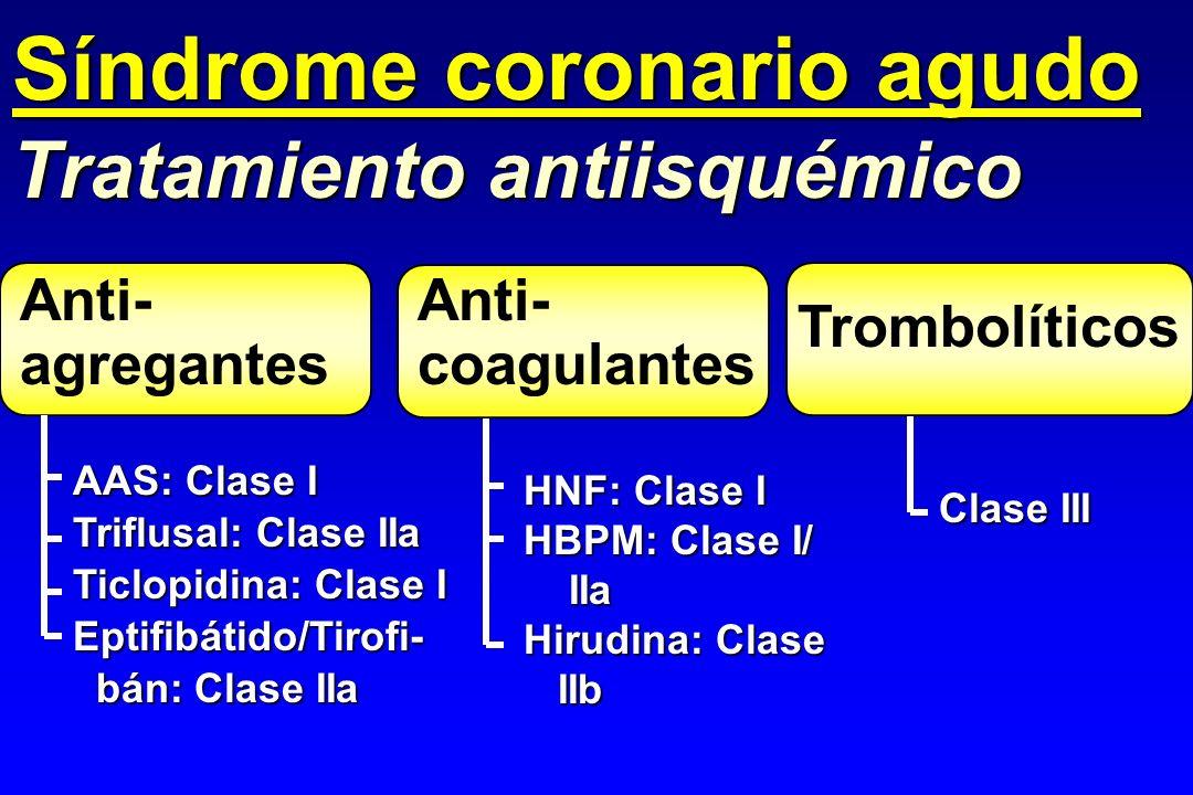 Anti- agregantes Tratamiento antiisquémico AAS: Clase I Triflusal: Clase IIa Ticlopidina: Clase I Eptifibátido/Tirofi- bán: Clase IIa bán: Clase IIa H