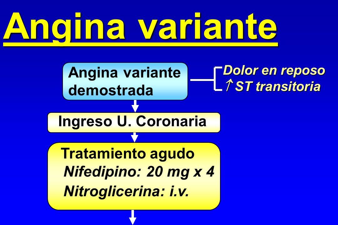 Angina variante demostrada Dolor en reposo ST transitoria ST transitoria Ingreso U. Coronaria Tratamiento agudo Nifedipino: 20 mg x 4 Nitroglicerina: