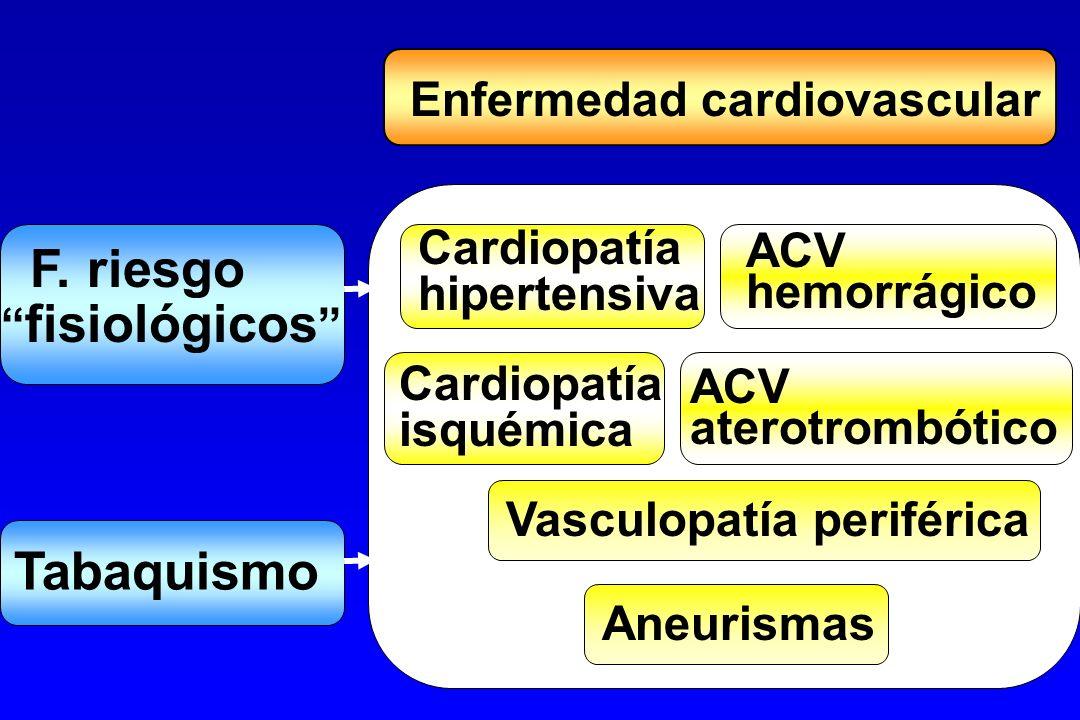 Enfermedad cardiovascular Cardiopatía hipertensiva F. riesgo fisiológicos Tabaquismo Cardiopatía isquémica ACV hemorrágico ACV aterotrombótico Vasculo