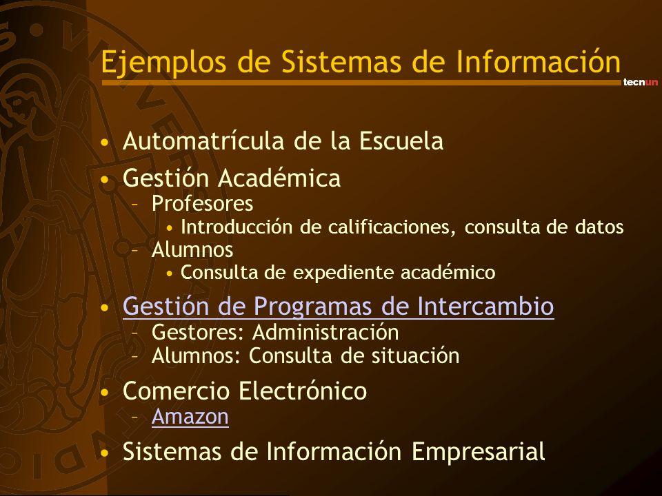 Ejemplos de Sistemas de Información Automatrícula de la Escuela Gestión Académica –Profesores Introducción de calificaciones, consulta de datos –Alumn