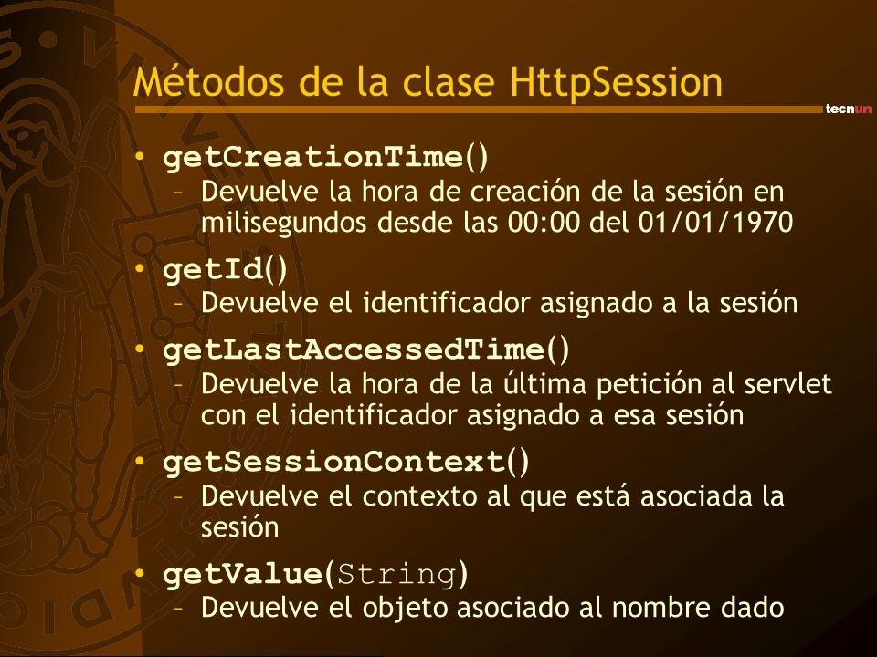 Métodos de la clase HttpSession getCreationTime () –Devuelve la hora de creación de la sesión en milisegundos desde las 00:00 del 01/01/1970 getId () –Devuelve el identificador asignado a la sesión getLastAccessedTime () –Devuelve la hora de la última petición al servlet con el identificador asignado a esa sesión getSessionContext () –Devuelve el contexto al que está asociada la sesión getValue ( String ) –Devuelve el objeto asociado al nombre dado