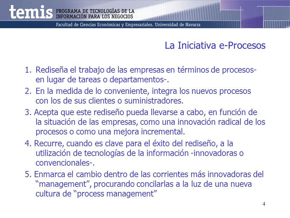 4 La Iniciativa e-Procesos 1.Rediseña el trabajo de las empresas en términos de procesos- en lugar de tareas o departamentos-. 2.En la medida de lo co