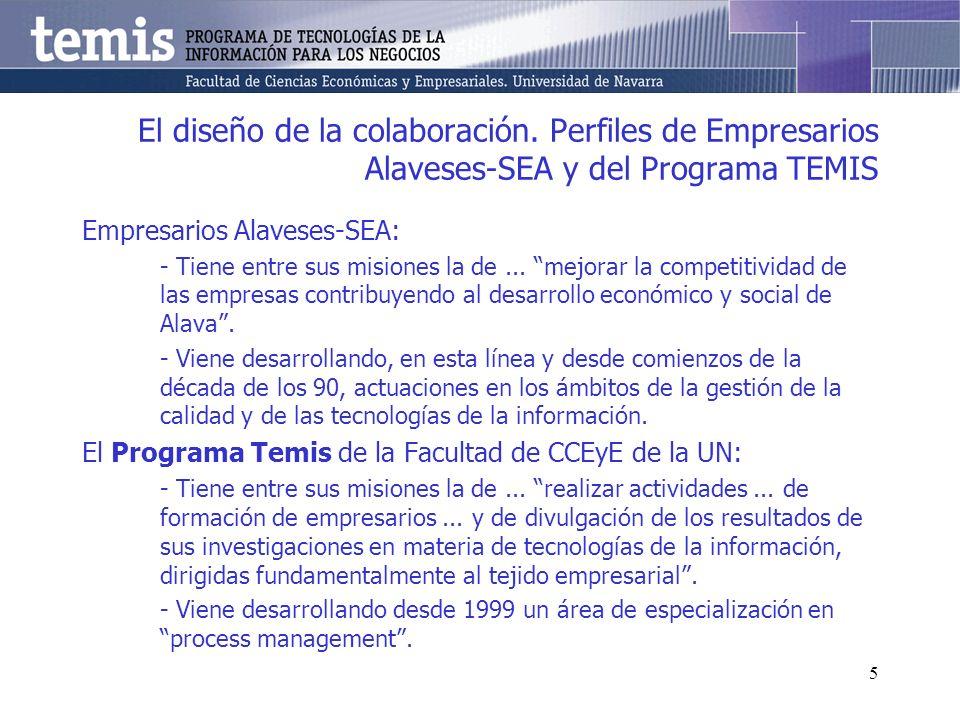 5 El diseño de la colaboración. Perfiles de Empresarios Alaveses-SEA y del Programa TEMIS Empresarios Alaveses-SEA: - Tiene entre sus misiones la de..