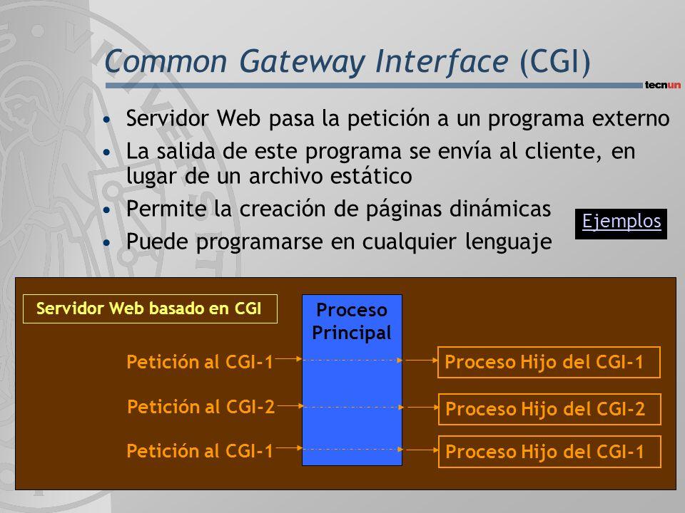 Common Gateway Interface (CGI) Servidor Web pasa la petición a un programa externo La salida de este programa se envía al cliente, en lugar de un archivo estático Permite la creación de páginas dinámicas Puede programarse en cualquier lenguaje Proceso Principal Petición al CGI-2 Petición al CGI-1 Proceso Hijo del CGI-1 Proceso Hijo del CGI-2 Proceso Hijo del CGI-1 Servidor Web basado en CGI Ejemplos