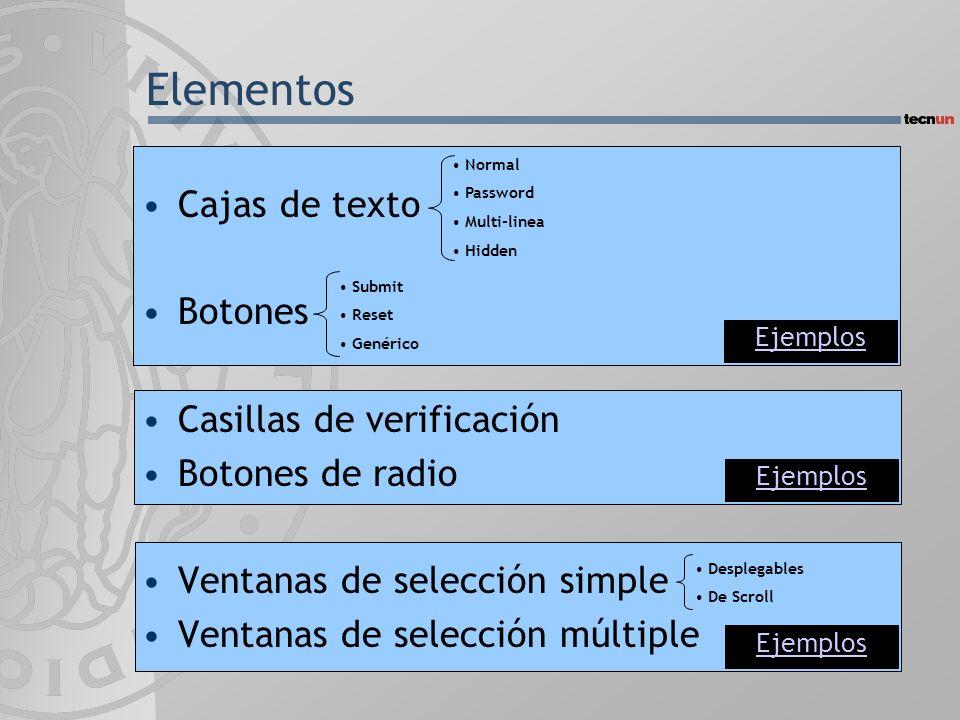 Elementos Cajas de texto Botones Casillas de verificación Botones de radio Ventanas de selección simple Ventanas de selección múltiple Normal Password Multi-linea Hidden Submit Reset Genérico Desplegables De Scroll Ejemplos