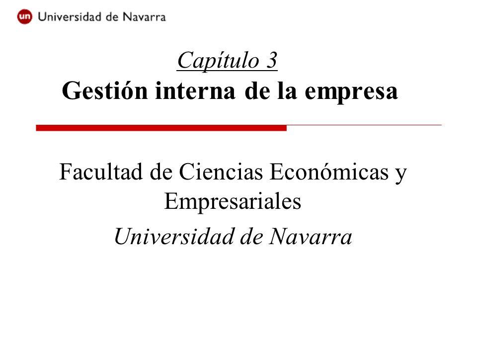 Capítulo 3 Gestión interna de la empresa Facultad de Ciencias Económicas y Empresariales Universidad de Navarra