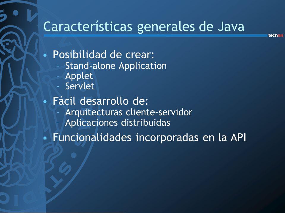 Características generales de Java Posibilidad de crear: –Stand-alone Application –Applet –Servlet Fácil desarrollo de: –Arquitecturas cliente-servidor