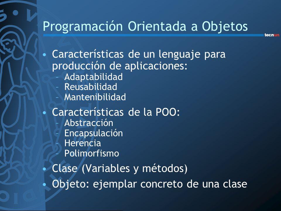 Programación Orientada a Objetos Características de un lenguaje para producción de aplicaciones: –Adaptabilidad –Reusabilidad –Mantenibilidad Caracter