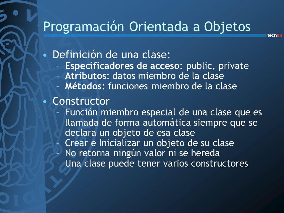 Programación Orientada a Objetos Definición de una clase: –Especificadores de acceso: public, private –Atributos: datos miembro de la clase –Métodos: