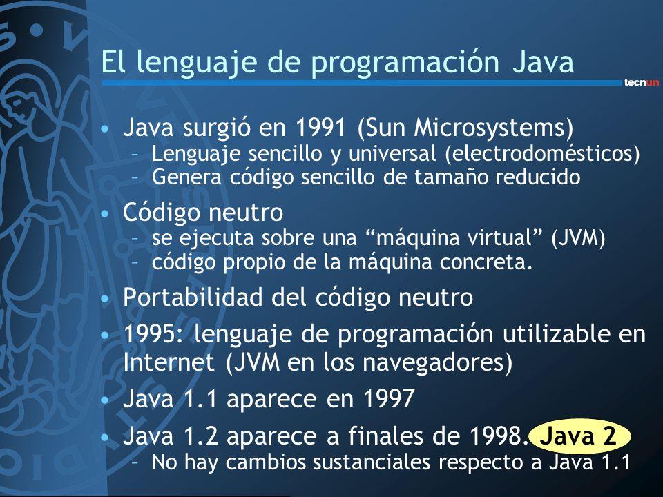 Java surgió en 1991 (Sun Microsystems) –Lenguaje sencillo y universal (electrodomésticos) –Genera código sencillo de tamaño reducido Código neutro –se