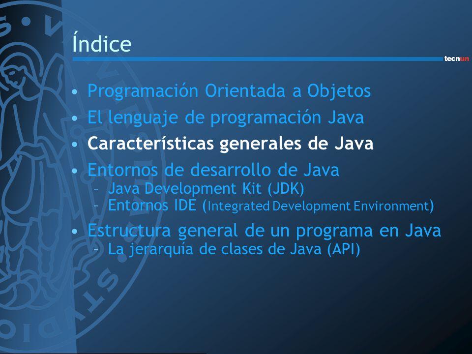 Estructura general de un programa en Java Una clase que contiene el método principal main() Fichero fuente (*.java) –Puede tener varias clases pero sólo una public –El nombre del fichero debe coincidir con el nombre de la clase public –Java distingue entre mayúsculas y minúsculas Por cada clase en un fichero fuente se crea un fichero *.class Cada clase -> unas funciones particulares –Permite construir las aplicaciones con gran modularidad e independencia de clases La jerarquía de clases de Java (API)