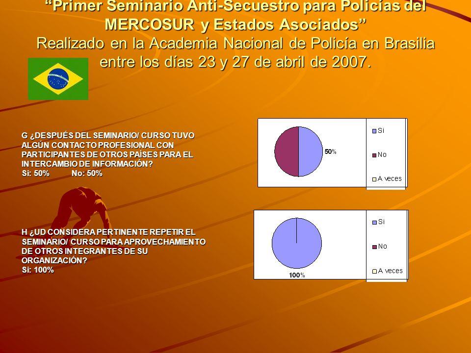 Primer Seminario Anti-Secuestro para Policías del MERCOSUR y Estados Asociados Realizado en la Academia Nacional de Policía en Brasilia entre los días 23 y 27 de abril de 2007.