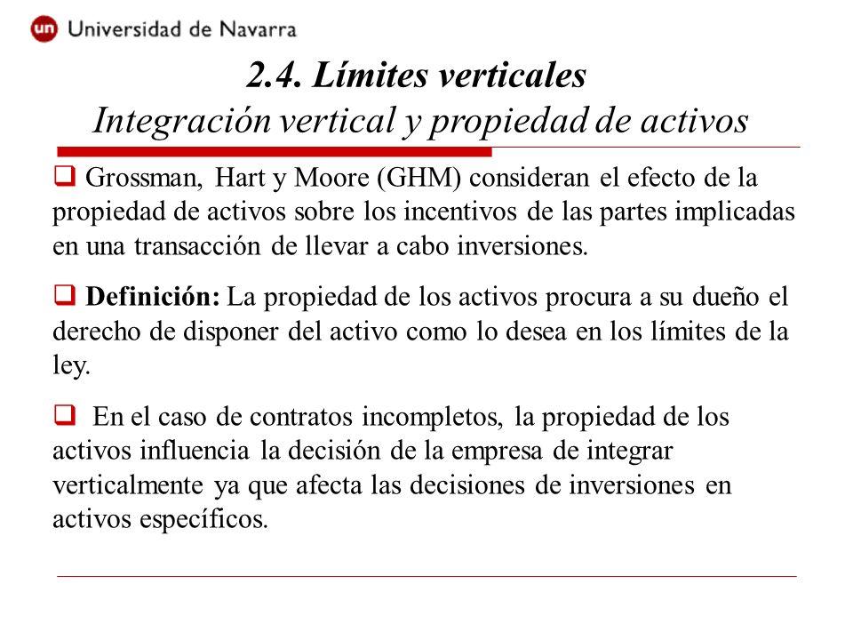 2.4. Límites verticales Integración vertical y propiedad de activos Grossman, Hart y Moore (GHM) consideran el efecto de la propiedad de activos sobre